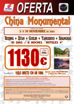 OFERTA China Monumental (05Nov-19Nov) ultimo minuto - http://zocotours.com/oferta-china-monumental-05nov-19nov-ultimo-minuto-2/