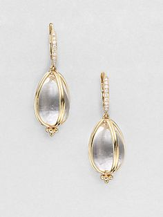 Temple St. Clair 18K Gold & Rock Crystal Amulet Drop Earrings (=)