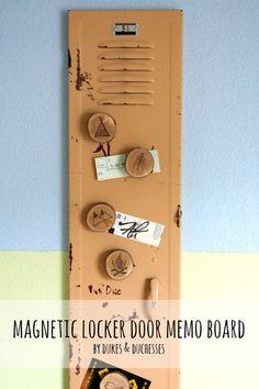 Magnetic Locker Door Memo Board - Dukes and Duchesses Repurposed Lockers, Vintage Lockers, Metal Lockers, Salvaged Doors, Memo Boards, Vintage Decor, Rustic Decor, Vintage Vibes, Rustic Wood