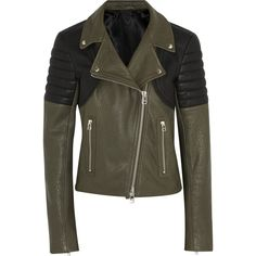 Faith Connexion Two-tone textured-leather biker jacket (£347) ❤ liked on Polyvore