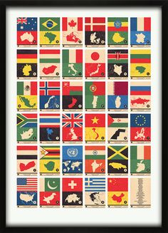Spruce up the office with some flags of the world! A flag atlas will add some color to the boring and dreary office decor! #international #travel