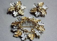Sara Coventry Brooch and Earrings Leaves Wreath Gold by STLvintage, $26.00