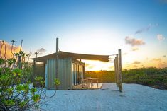 The 8 recrafted Eco Pods draw in a sense of serenity and adventure from the unspoiled beauty of its surroundings, whilst at the same time exuding a unity with its location. Eco Pods, Sand Floor, Gazebo, Pergola, Large Tent, Containers For Sale, Wooden Poles, Timber Structure, Luxury Camping