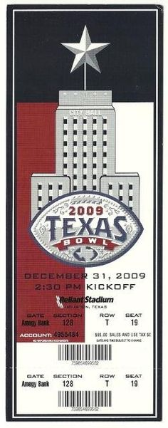 2009 Texas Bowl Full Ticket Navy Missouri....if you like this you can find many more college bowl game tickets for sale at.....www.everythingcollectibles.biz
