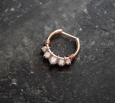 3afc1187a Items similar to One Rose Gold Plated Brass 16g (1.2mm) or 14g (1.6mm) Wire  Wrapped Crystal Septum Clicker Nose Piercing Ring Jewelry on Etsy