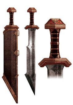 Iron Hills Short Brought Sword Fantasy Dwarf, Fantasy Armor, Fantasy Weapons, Medieval Fantasy, Steampunk Weapons, Zombie Weapons, Medieval Weapons, Larp, Master Sword