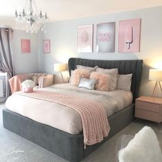 75 Awesome Gray Bedroom Ideas will Inspire You Crafome Grey Bedroom Decor, Bedroom Decor For Teen Girls, Cute Bedroom Ideas, Room Ideas Bedroom, Stylish Bedroom, Small Room Bedroom, Teen Bedrooms, Master Bedroom, Light Pink Bedrooms