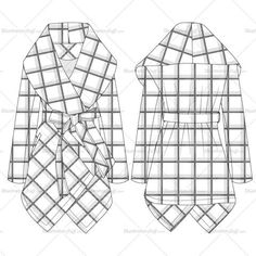 Women's prairie grid rabato coat fashion flat vector template in back and front detailed sketch. File includes plaid repeating pattern. Easy to modify and use.