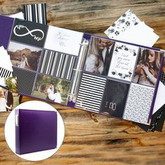 You don't need to be a crafter or artist to make a beautiful handmade scrapbook. These all-in-one kits include EVERYTHING you need to complete a stunning scrapbook album in no time at all! Scrapbook Journal, Scrapbook Albums, Journal Cards, Scrapbooking Layouts, Scrapbook Cards, Scrapbook Stickers, Diy Wedding Journal, Wedding Album, Wedding Scrapbook