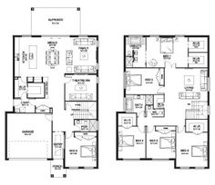 Aria 41 - Double Level - Floorplan by Kurmond Homes - New Home Builders Sydney NSW - Master bed orientation Family House Plans, Bedroom House Plans, Dream House Plans, House Floor Plans, Custom Home Builders, Custom Homes, Building Plans, Building A House, Dream Home Design