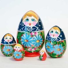 """Babushka dolls - this is other name of the Russian nesting doll. The name """"Babushka"""" in Russian means """"grandma"""" and this is hard to guess why people started to call this wood toy babushka doll. Matryoshka Doll, Tempera, Wooden Dolls, Wood Toys, Lead Free, Gouache, Easter Eggs, Lime, Traditional"""