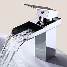 Bathroom Sink Faucet in Modern Style Single Handle Waterfall Bathroom Sink Faucet (Chrome Finish) – AUD $ 68.63