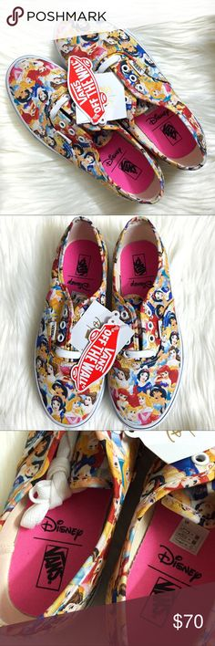 Vans Disney Multi Princess Youth Lace Sneakers Brand new with tags and box, Youth size 4. A Youth size 4 is equivalent to a women's size 5.5. This Vans x Disney Multi Princess Youth Lace Sneakers has been sold out & hard to find! Features all your favorite Disney Princesses such as The Little Mermaid's Ariel, Beauty & the Beast Belle, Snow White, Cinderella, Sleeping Beauty's Aurora and Aladdin's Jasmine. Box has some wear as shown in pictures. I also have the Alice in Wonderland and Beauty…