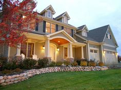 Charming custom exterior. Love the dormers and front porch. #customhome www.HomeChannelTV.com