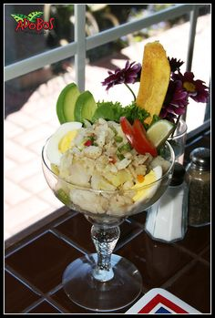 Serenata de bacalao is a traditional Puerto Rican food. This dish consists of yuca, malanga, yautia, ñame, batata and guineitos verdes with bacalao (salted cod fish) garnished with tomatoes, avocado, hard boiled eggs and extra virgin olive oil.
