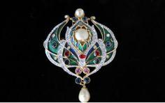 "1989 Signed ""Art Deco"" Jewels of India Moghul Enamel Rhinestone Brooch   eBay"