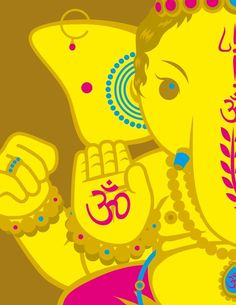 Ganesha, the, elephant, one of the three main gods of the deity. He is the remover of obstacle. The symbol of obstacles. the symbol on his hand means Aum or Om. Jai Ganesh, Ganesha Art, Lord Ganesha, Lord Shiva, Illustrations, Illustration Art, Om Gam Ganapataye Namaha, Hindu Deities, God Pictures