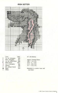 Irish Setter Portrait Cross Stitch Pattern Loom Beading, Beading Patterns, Cross Stitch Charts, Cross Stitch Patterns, Irish Setter Dogs, Puppy Day, Cross Stitch Animals, Plastic Canvas Patterns, Filet Crochet