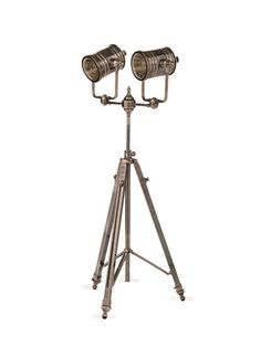 Lights, Camera, ACTION: Double Spotlight Tripod Floor Lamp by Four Hands on Gilt Home