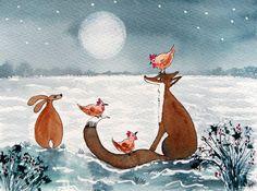 Original Watercolour Painting - ANIMALS: HARE, FOX & CHICKEN FRIENDS | eBay