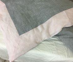 Border duvet cover, chambray grey duvet cover light pink border
