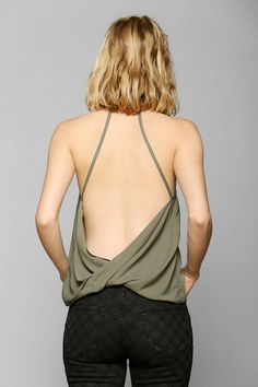 Silence + Noise Backless Surplice Tank Top