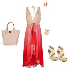 Pale Peach and bittersweet red with blushed accessories