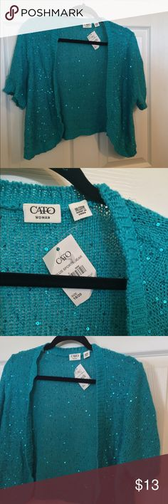 NWT Cato sequined turquoise cardigan This slightly cropped turquoise colored cardigan is dotted with sequins. Lovely over a pretty dress or top. Size 18/20 Cato Sweaters Cardigans