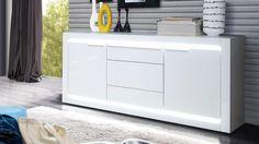 Sideboard L-LIGHT Anrichte in MDF weiß Hochglanz inkl. LED-Lichtleiste