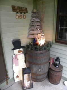 Cute rustic tree made from wooden boards.