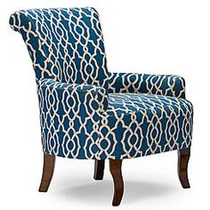 Baxton Studio Dixie Contemporary Fabric Armchair - Navy Blue Patterned Fabric
