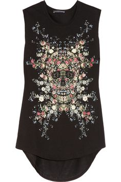 Alexander McQueen | Skull and floral-print cotton-jersey tank | NET-A-PORTER.COM .....want want want !