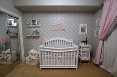 Alexis' pink and grey polka dot girls nursery