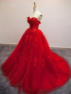 Sweet 15 16 Red Prom Evening Gowns Sweetheart Tulle Applique Princess A Line Quinceanera Dresses