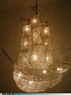I want this for a Peter Pan kid's room The Crystal Ship - crystal sailboat chandelier from Burden Antiques & Works of Art in New York. Peter Pan Nursery, Crystal Ship, Glass Crystal, Clear Glass, Contemporary Chandelier, Unique Chandelier, Luxury Chandelier, Glass Chandelier, Nautical Chandelier