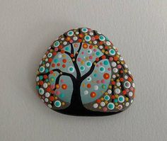 PAINTED BEACH STONE / Pebble Art / Dot Painted Stone /Home