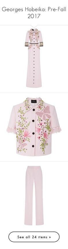 """Georges Hobeika: Pre-Fall 2017"" by livnd ❤ liked on Polyvore featuring georgeshobeika, livndfashion, prefall2017, livndgeorgeshobeika, dresses, flower print dress, pink dress, slit dress, floral print dress and applique dress"