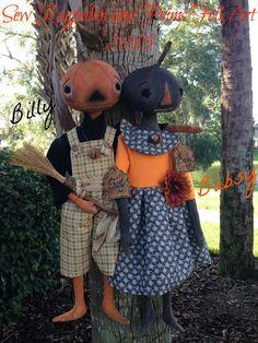 ~~~~~~ SOLD ~~~~~~ ON SALE ! Billy and Babsy, an OOAK Set of Two Primitive Folk Art Pumpkin Head Dolls, Halloween, Harvest, Autumn, Handmade, Osnaburg Cloth Dolls !