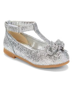 Silver Adora Flower Ankle-Strap Mary Jane