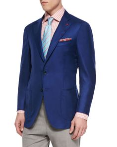 Isaia two-button blazer. Notch lapels; two-button front with mother-of-pearl buttons. Front patch pockets; chest welt pockets. Unfinished sleeves. Double-vented back. Cashmere/silk. Made in Italy.