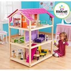 My girls love this doll house! It's big enough for barbies and look at all that furniture!