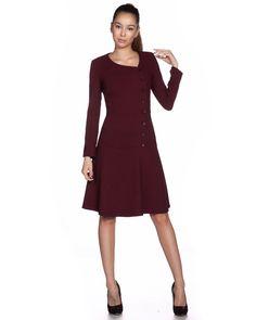 Елегантна рокля от жоржет - вишнева - Inaya #Efrea #Ефреа #online #онлайн #пазаруване #дрехи #рокля