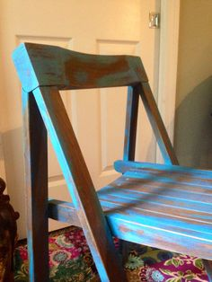 Beautiful Antique Wood Folding Chair - Mid Century or Art Deco -Distressed with Custom Chalk Paint on Etsy, $50.00