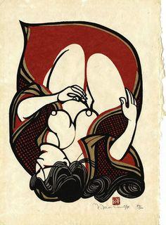 Woman in Red, stencil print, Yoshitoshi Mori Japanese Calligraphy, Calligraphy Art, Japanese Prints, Japanese Art, Japanese Style, Stencil Printing, Flag Icon, Pin Up Art, Woodblock Print