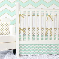 Metallic Gold, Mint and Chevron Crib Set - nursery trends collide in this gorgeous crib bedding!