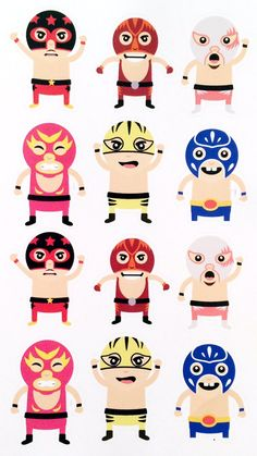 Lucha Libre Luchador Stickers for your planner by VintageGypsyRoad