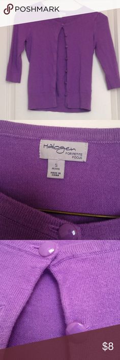 Purple cardigan from Halogen in size Small petite Purple cardigan from Halogen in size Small petite. 3/4 length sleeves and shiny buttons. Cute and classic with a great spring/summer color. Excellent condition. Halogen Sweaters Cardigans