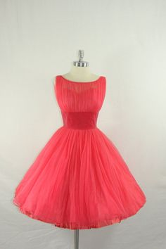 1950s Party Dress  Vintage Rich Pink Chiffon and Velvet Full Skirt Frock by VintageFrocksOfFancy