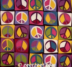 ✌Peace Sign Collage Fabric__[Via Etsy by ©zeetzeet]