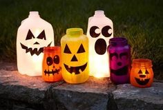 Pumpkin-less Jack-o'-Lanterns... milk jug ghosts! Light with a strand of LED holiday lights or a  handful of glow sticks :)